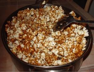 Coat Popcorn with Caramel