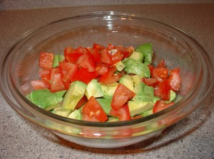 Chopped Tomotoes and Avocados