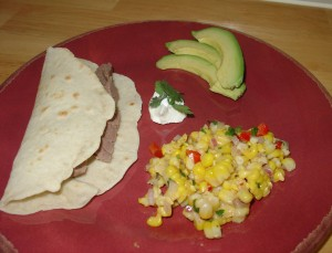 Corn Salsa with Grilled Meat Tacos