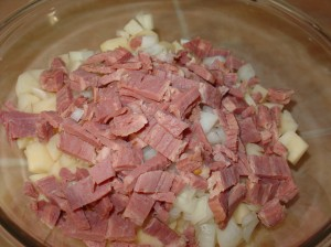Dice Onions and Corned Beef