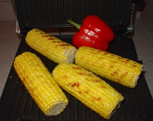 Roast Corn on Pepper on the Breville Grill