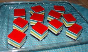 Layered Jello Cubes