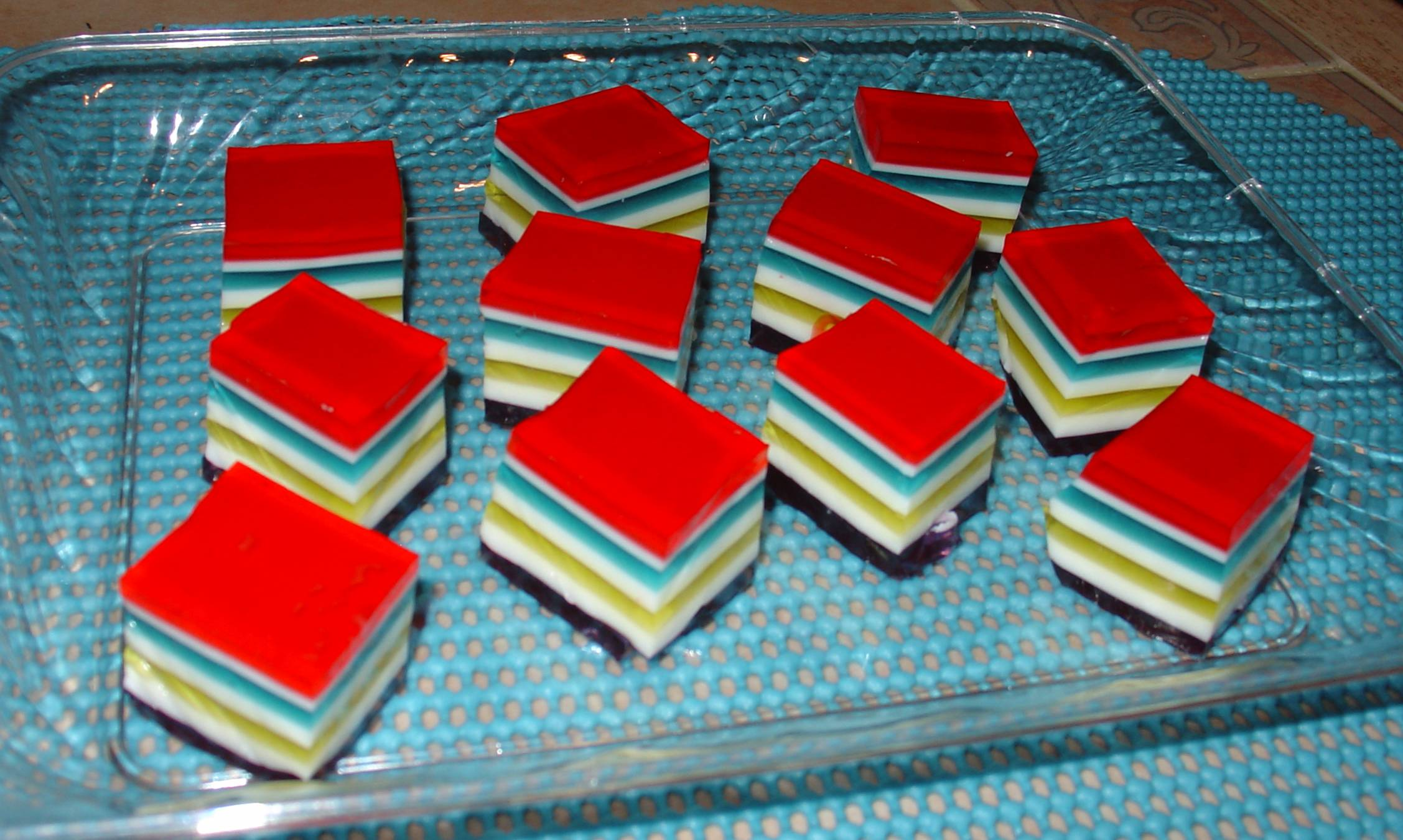 Layered Jello Cubes