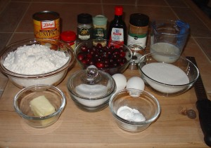 Ingredients for Pumpkin and Cranberry Donuts