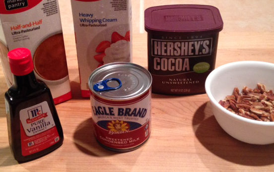 Ingredients for Rocky Road Ice Cream