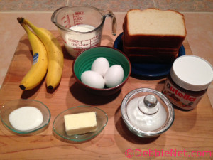 Ingredients for Nutella Banana French Toast
