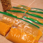 Pumpkin puree packaged for the freezer