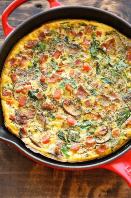 Spinach, Mushroom, and Bacon Frittata